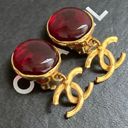 Earrings Gold Plated Cc Logo Charms Round Red Stones Clip-on 96p Vintage