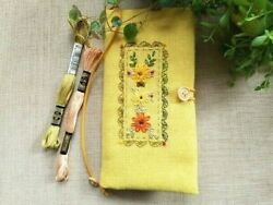 Handmade Fabric Embroidered Notebook Cover for Hobonichi Weeks Notebook Mustard $39.99
