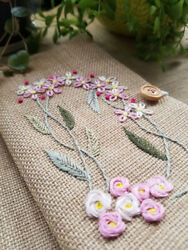 Handmade Fabric Embroidered Notebook Cover for Hobonichi Weeks Notebook Beige $39.99