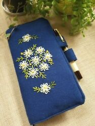 Handmade Fabric Embroidered Notebook Cover for Hobonichi Weeks Notebook Denim $39.99