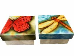 Capiz Shell Jewelry Trinket Box Set Hand Painted Oyster 3 Butterfly Dragonfly