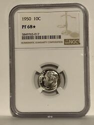 1950 Star Roosevelt Dime Ngc Pf 68 Star Price Guide 275 - 1,200