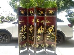Vtg Japanese Asian Detailed 4-panel Screen Room Divider Black Lacquer Faux Mop