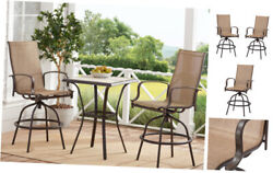 Outdoor Bistro Set Bar Height Table And Chairs Set Backyard Patio Furniture Set