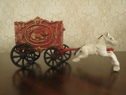 Vintage 1970s Era Painted Cast Iron Horse Drawn Circus Wagon Lion Cage Cart Toy