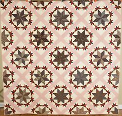 Museum Quality Vintage 1870and039s Pinwheel Stars Antique Quilt Mint Condition