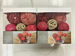Unscented Vase Filler Assorted Red And Natural Ball Filler 2pk Free Shipping