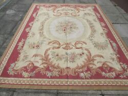 Vintage Hand Made French Design Wool Red Pink Brown Original Aubusson 306x243cm