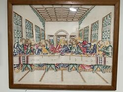 The Last Supper Vintage Embroidered Cross-stitch Crewel Finished And Framed
