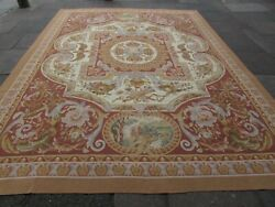 Vintage Hand Made French Design Wool Brown Large Original Aubusson 381x283cm