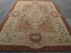 Old Hand Made French Design Wool Brown Original Aubusson 306x239cm 10x8