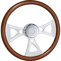 18in Steering Wheel W/boss Kit And Horn Button Fits Freightliner Wood Finish