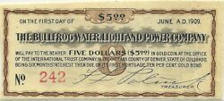 1905 Bullfrog Water Light And Power Co 5 Bond Coupon Rhyolite Nevada Ghost Town