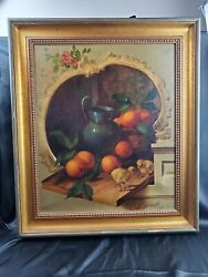 Vintage Signed Oil Painting Still Life Oranges And Baby Chickens 25x30 Size