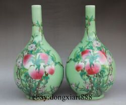 China Wucai Porcelain Green Pottery Peach Flower Painting Flask Lagena Vase Pot