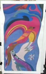 Helen Weber San Francisco Hand Signed Color Abstract Birds And Fish Poster 1981
