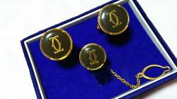Cufflinks Tie Tac Set 2c Oval Gold Black Green Discontinued Product