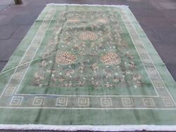 Vintage Hand Made Art Deco Chinese Oriental Green Wool Large Carpet 336x246cm