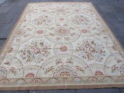 Old Hand Made French Design Wool Beige Brown Original Aubusson 310x238cm