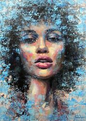 A Latin American Queen Portrait Oil Painting Acrylic Woman African Artwork