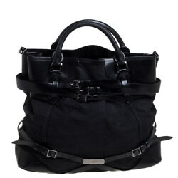 Black Fabric And Leather Large Bridle Lynher Tote
