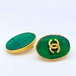 Earrings Oval Type Green Stone Gold 95a 1.9 Andtimes 2.5cm Ladies Accessories