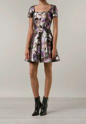 4995 Valentino Us 2 Eu 38 Women's Black Metallic Butterfly Fit And Flare Dress