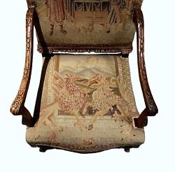 Antique Tapestry Arm Chair Tall Hall Chair Karpen Griffins French Style