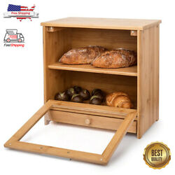 Large Bread Box Bamboo 2layer Loaf Containers Kitchen Food Keeper Storage Bin
