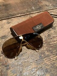 Vintage Bausch And Lomb Wings Arista Shield Aviator Sunglasses Gold Brown
