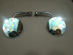 4 Inch Round Peep Mirrors With Extensions Set Of 2 Mirrors Hot Rod Ratrod Gm