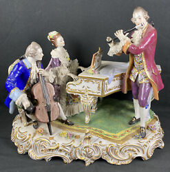 Antique Rare Dresden Victorian Porcelain Music Group Piano Cello And Flute