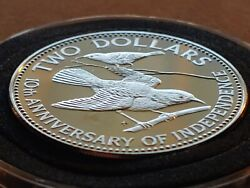 Very Rare 1983 Proof Bahamas 2 Dollar Proof W Holder 40mm Flying Honeycreepers
