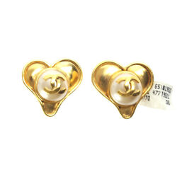 Earrings Coco Mark Fake Pearl Heart-shaped 95p Gold 28mm X 25mm