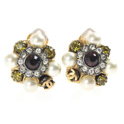 Earrings Coco Mark Fake Pearl Stone Gold 20mm X 16mm With Season Plate