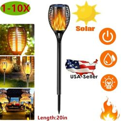 1-10pcs Solar Torch Flame Dancing Light Led Flickering Flame Lamp Outdoor Garden