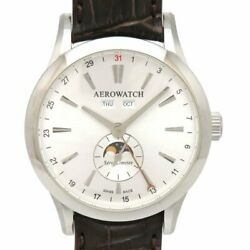 Aerowatch Les Grandes A93955 Aa01 Hand Winding Silver Dial Moon Phase Men's
