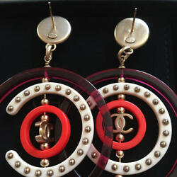Earrings Round Cc Logo Studs Large Ring Charms Hoop Red White Purple A17p