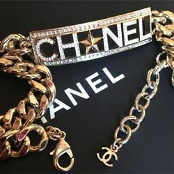 Necklace Choker Gold Plated Rhinestone Signature Logo Plate Star With Box