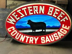 Large 6and039 Vintage Western Beef Country Sausage Lighted Sign Cattle Cow Ranch Old