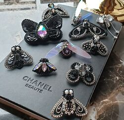 Fashion Set Of 11 Brooches Pins. Black Butterfly Cc Brooch Pin.