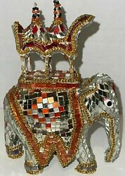 Detailed Hand Crafted Mahout Hindu Elephant Ride Mosaic Glass Mirror Figure Art
