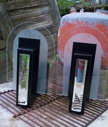 Pair Vintage Deco Style Electric Wall Sconces Glass Mirrors