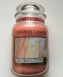 Yankee Candle LINE DRIED COTTON 22 oz LARGE JAR HTF RETIRED FRESH SCENT