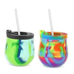 Silicone Unbreakable Wine Glass Tumblers With 2-pack Sea Swirl And Hippy Hop