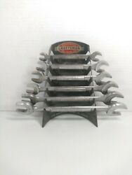 Vintage Craftsman V Series Double Open End Wrench Set With Wall Rack Holder Vgc