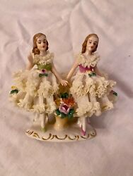 Antique German Dresden Lace Figurine Girls With Flowers