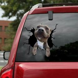Funny STAFFORDSHIRE BULL TERRIER Car Window Crack Decal Dogs Lover Decal 12x12quot;