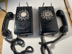 Lot Of 2  Vintage Bell System .western Electric. Rotary Dial Wall Phones Black