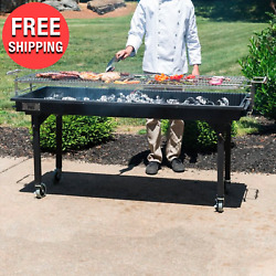 Heavy-duty Outdoor Portable Charcoal Grill W/ Removable Legs And Cover 60 Steel